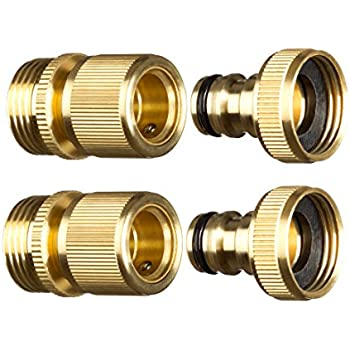 New Garden Hose Quick Connector. ¾ inch GHT Brass Easy Connect Fitting 4-Piece Set Male and Female  sc 1 st  Amazon.com : garden hose thread type - www.happyfamilyinstitute.com