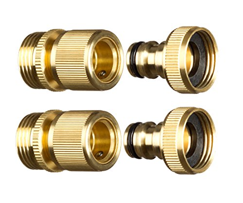 New Garden Hose Quick Connector.  inch GHT Brass Easy Connect Fitting 4-Piece Set Male and Female