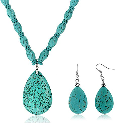 (Gem Stone King 22inchesBlue Simulated Turquoise Howlite Necklace w- Drop Shape Pendant & Earring Set)