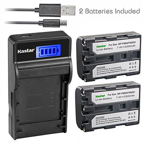Kastar Battery (X2) & SLIM LCD Charger for Sony NP-FM50 NP-FM55H & HC1 TRV280 TRV350 TRV250 TRV19 TRV22 TRV27 TRV33 TRV460 TRV140 TRV17 TRV340 TRV38 TRV480 TRV260 TRV138 TRV608 DVD101 DVD201 D1000