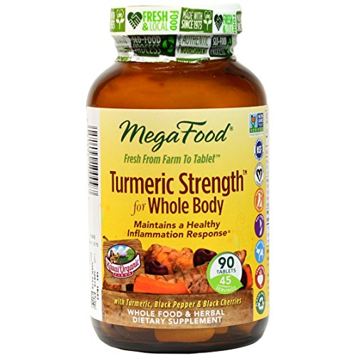 MegaFood – Turmeric Strength for Whole Body, Supports Healthy Aging, 90 Tablets (Premium Packaging)