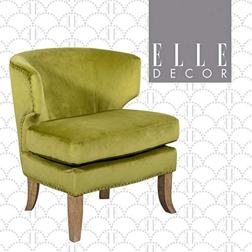 Elle Decor Marais Velvet Upholstered Accent Chair, Curved Shelter Back Barrel Club Armchair with Nail Heads, Belgian Distressed Wood Legs, Avocado Green