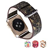 X-cool for Apple Watch Band 38mm with Metal Clasp Soft Leather Seasons Design Band for Apple Watch Series 3 2 1