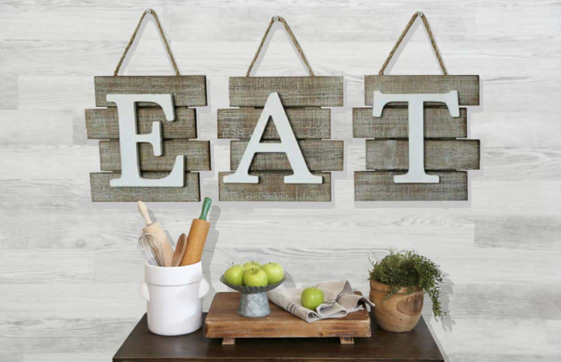 """Rustic Barn Designs Eat Sign Kitchen and Home Wall Decor, Distressed Wood, Farmhouse Country Decorative Wall Art, Light Weight, Easy to Hang 24"""" x 8"""""""