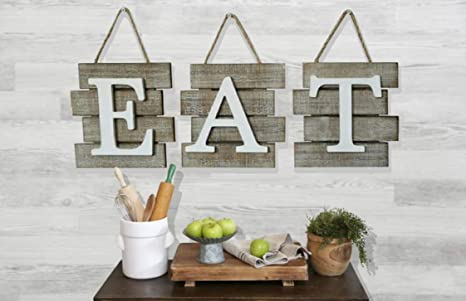 Rustic Barn Designs Eat Sign Kitchen And Home Wall Decor Distressed Wood Farmhouse Country Decorative Wall Art Light Weight Easy To Hang 24 X 8
