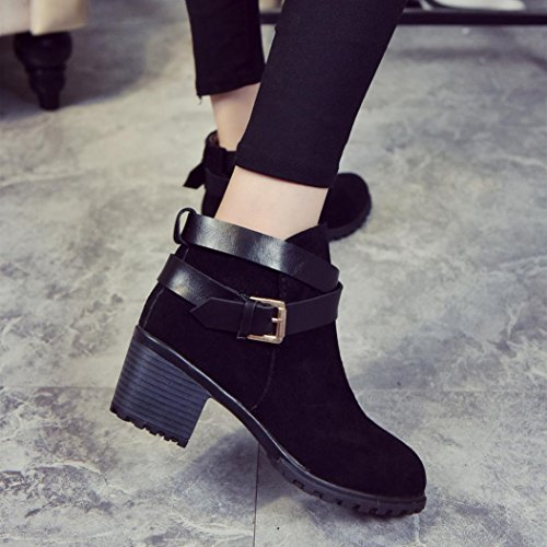 Winter Woman For Shoes Buckle Shoes KaiCran Black Boots Heel Low Lady Snow Ladies Martin Ankle qdaXtw