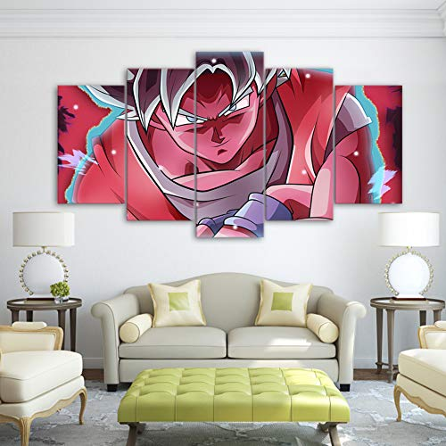 QJXX Wall Art Canvases Print Dragon Ball Characters 5 Panels Printings Goku Super Saiyan Picture Prints On Canvas Artwork for Room Decoration(No (G Plan Dining Room Furniture)