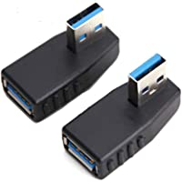 USB 3.0 Adapter 90 Degree Male to Female Coupler Connector Plug Left Angle and Right Angle by Oxsubor