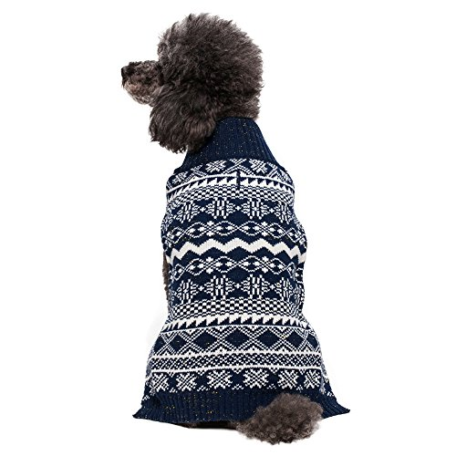 Blueberry Pet 3 Patterns Vintage Tinsel Knit Fair Isle Dog Sweater in Midnight Blue, Back Length 16