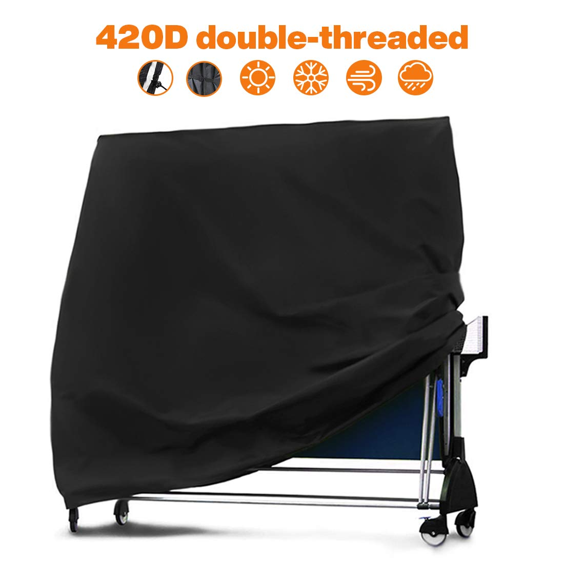 SPROTW Ping Pong Table Cover, Upgrade 420D Oxford Heavy Duty Protect Dust & Damage Table Tennis Cover, Weather Resistant for Folding Tables(65'' x 28'' x 73'') by SPROTW