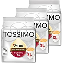 Tassimo Jacobs Caffè Crema XL, Rainforest Alliance Vérifié, Lot de 3, 3 x 16 T-Discs
