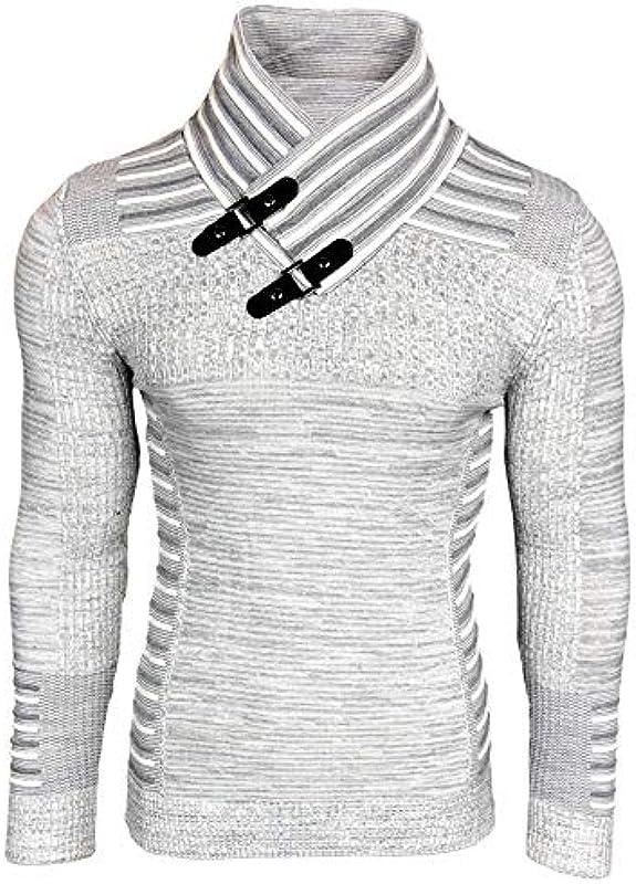 Baxboy męski sweter sweter dziany Hoodie kołnierz szalikowy bluza z długim rękawem sweter drobny dzianina B-5032: Odzież