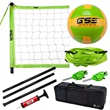 GSE Games & Sports Expert Deluxe Outdoor Backyard Beach Game Set (Badminton/Volleyball) (Professional Volleyball Set)