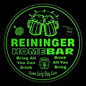 4x ccq37158-g REININGER Family Name Home Bar Pub Beer Club Gift 3D Engraved Coasters