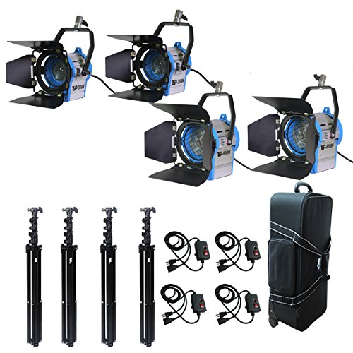 Top-Fotos Total 1900 Watt Photography Photo Video Studio, Film and Television Tungsten Fresnel Continuous Lighting Light Spotlight,Air Cushioned Stands Kit by Top-Fotos