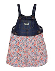 "OshKosh Little Girls' Toddler ""Floral Tiers"" Overall Skirt - coral/denim blue, 2t"