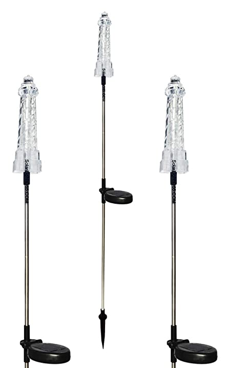 solar wholesale solar powered lighthouse garden stake lights a pack of 3