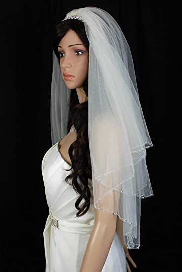 Bridal Veil White 2 Tiers Fingertip Length Scallop Edge In Beads And Clear Drop