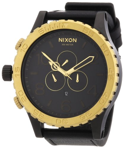 Nixon Men's A124-036 Leather Synthetic with Black Dial Watch