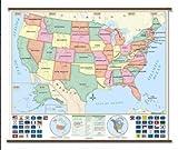 US Beginner Classroom Wall Map on Roller w/ Backboard