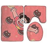 Dance Cookies Cartoon Prints Non-Slip Bathroom Rugs 3 Piece Set Anti-skid Pads Bath Mat + Toilet Lid Cover + Contour