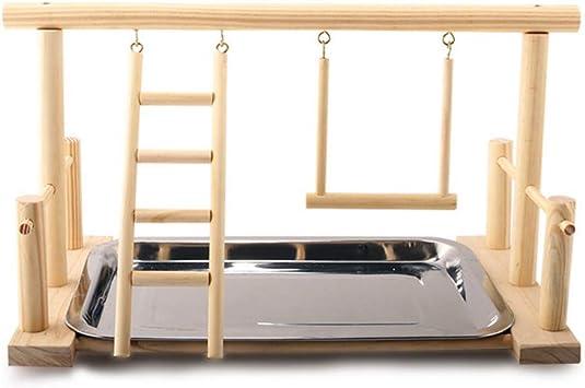 FangWWW - Escalera de Madera para Loro con Bandeja de Comida para Mascotas: Amazon.es: Productos para mascotas