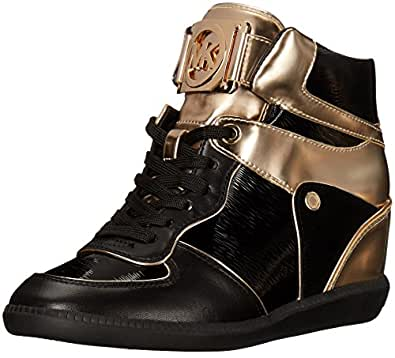 Michael Kors Women's Nikko High Top Fashion Sneaker, Black, 5.5 M US