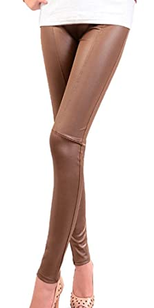 56a911384af339 BOZEVON Women Sexy Faux Leather Leggings Skinny Stretchy Fitted Trousers  Ladies Pants, Brown