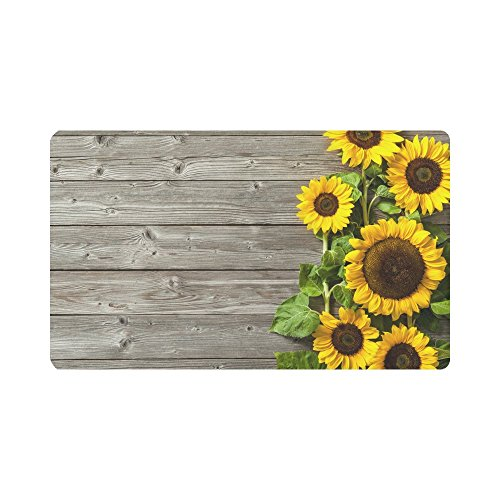 (InterestPrint Autumn Sunflowers Wood Pattern Doormat Non Slip Indoor/Outdoor Floor Door Mat Home Decor, Entrance Rug Rubber Backing Large 30