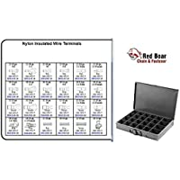 "Nylon Insulated Wire Terminals in 24 Hole Metal Tray Assortment (13-3/8""w x9-1/4""d x 2""h)"