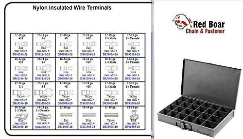 Nylon Insulated Wire Terminals in 24 Hole Metal Tray Assortment (13-3/8''w x9-1/4''d x 2''h) by RED BOAR Chain