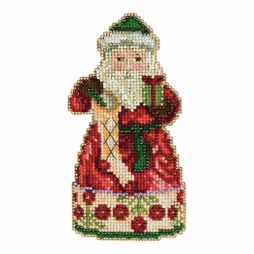 (Mill Hill Christmas Santa Ornament Counted Cross Stitch Kit w/ Glass Beads Christmas Spirit JS203105)