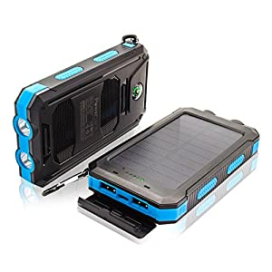 51YeYm9Db5L. SS300  - Solar Power Bank Built in LED light Waterproof High Speed Charging Portable Charger for cell phone iPhoneX Android phones GPS and More LED Flashlight with Compass for Emergency