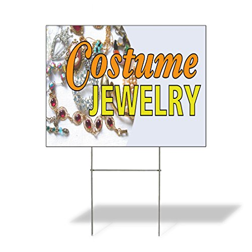 Plastic Weatherproof Yard Sign Costume Jewelry Jewelry Jewelry Stores Blue Jewelry for Sale Sign Multiple Quantities Available 18inx12in One Side Print One Sign ()