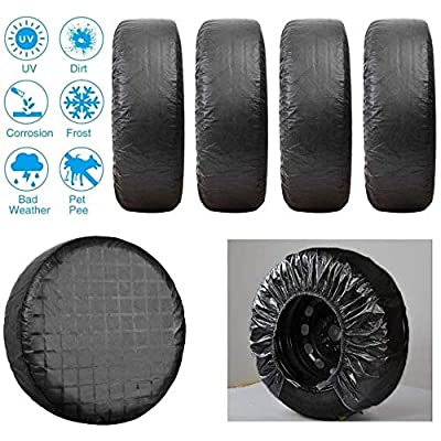 "Yuhai-auto Tire Covers Set of 4,Fits 27"" to 29"" Tire Diameters,Weatherproof,Waterproof Aluminum Film Tire Sun Protectors,Suit for Car,Jeep,Camper,Trailer,RV,SUV,Truck(Black): Automotive"