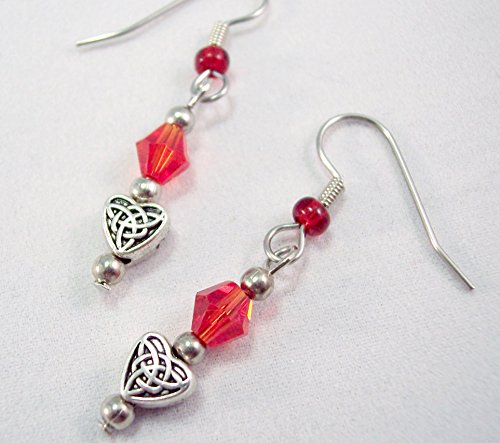 Tiny Crystal Heart Charm Earrings Red