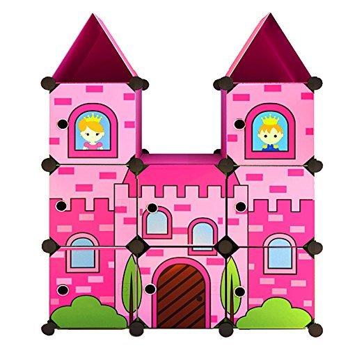 Moon Moon Portable Clothes Closet Wardrobe for Children and Kids, Cartoon Castle wardrobe, DIY Portable Closet Organizer, DIY Modular Storage Organizer(Pink)