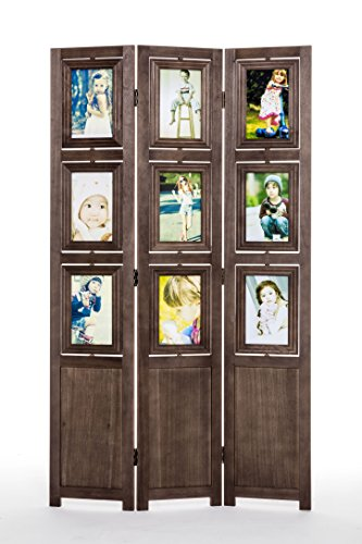 Panel Wood Natural 3 (Ehemco 3-panel Folding Photo Screen/room Divider in Dark Brown)
