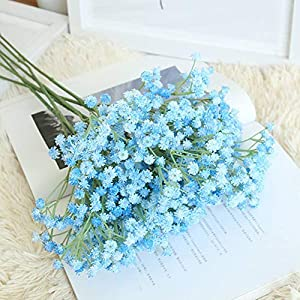 Yinrunx 135 Heads Baby Breath Flowers Artificial Gypsophila Flowers Fake Bouquet Floral for Home Party Wedding Decorations(Blue) 1