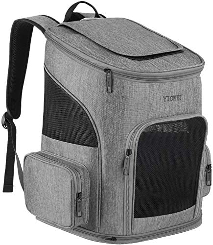 Ytonet Dog Backpack Carrier, Pet Carrier Bag with Mesh for Small Dogs Cats Puppies, Comfort Cat Backpack Bag for Hiking Travel Camping Outdoor Hold Pets Up to 18 Lbs, Grey