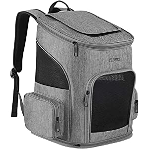 Ytonet Dog Backpack, Pet Carrier Bag with Mesh for Small Dogs Cats Puppies, Comfort Cat Backpack Bag Airline Approved for Hiking Travel Camping Outdoor Hold Pets Up to 18 Lbs, Grey 10