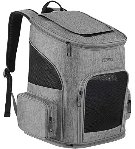 Ytonet Dog Backpack, Pet Carrier Bag with Mesh for Small Dogs Cats Puppies, Comfort Cat Backpack Bag Airline Approved for Hiking Travel Camping Outdoor Hold Pets Up to 18 Lbs, Grey ()