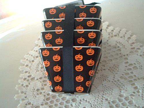 Ciroa Pumpkin Jack-O-Lantern Halloween Black Orange Appetizer Dipping Bowls Set of 4 NEW