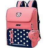 Primary School Backpack Book Bag for Boys Girls 5-12 years old, Uniuooi Waterproof Polyester Children Travel Rucksack Cute Cartoon Schoolbag Laptop Bag (Pink & Navy, Large)