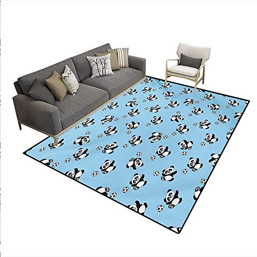 Carpet,Cute Panda Player Kicking a Ball Kids Boys Design Fun Animal Pattern,Customize Rug Pad,Pale Blue Black White,6'x9'