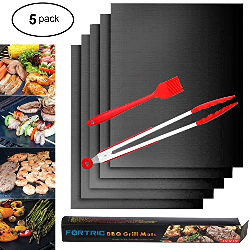 FORTRIC Non-stick 5 Pack BBQ Grill Mats Barbecue Baking Pads Sheet with 1 Grill Tong and 1 Oil Brush for Gas Charcoal Electric Grill -FDA Approved, PFOA Free
