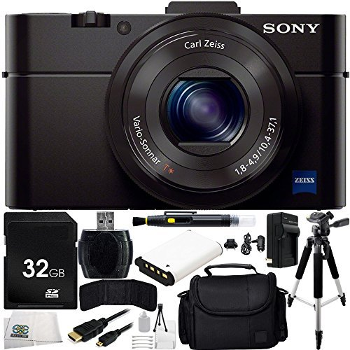 Sony DSC-RX100M II DSC-RX100M2 DSC-RX100MII RX100M2 RX100MII DSC-RX100M II Cyber-shot Digital Still Camera 22PC Accessory Kit. Includes 32GB Memory Card + Replacement BX1 Battery + MORE