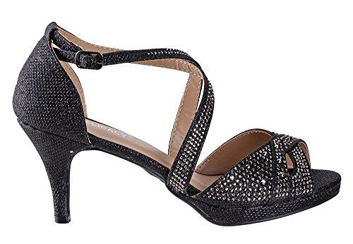 Delicacy Excited-90 Womens Rhinestone Dressy Low Heel Pumps Black FBJVaVd