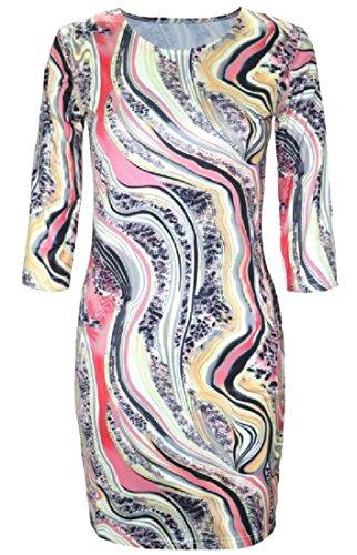 H paket lse H Pattern20 fte Kleid Crewneck Halbe Frauen Bequeme Blumendruck 1gYxa5wq6