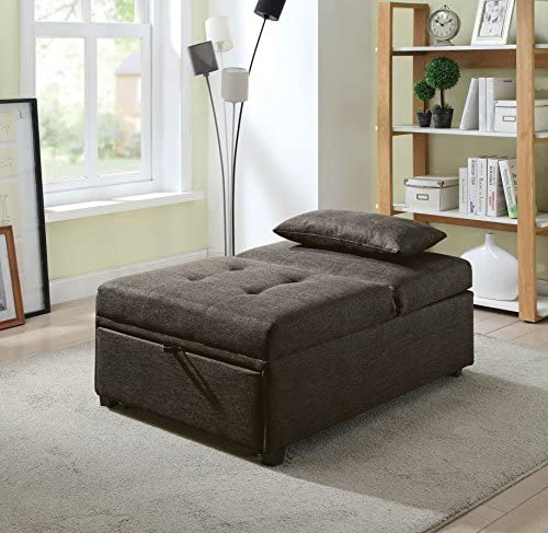 HOMES Inside Out Langston Contemporary Futon Ottoman, Dark Gray